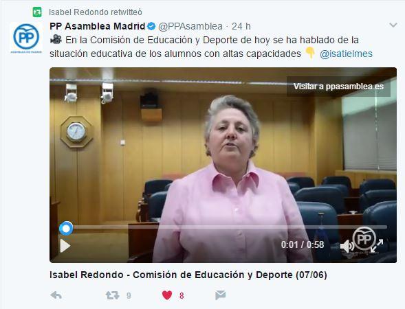 Isabel Redondo, portavoz de Educación del PP en la Asamblea de Madrid